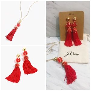 J. Crew Red Crystal Tassel Necklace Earring Set